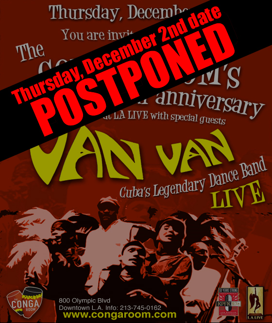 First US tour date for Los Van Van postponed
