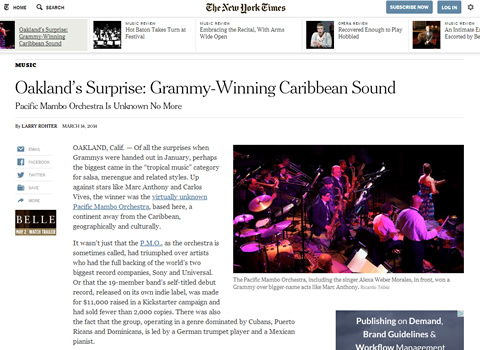 Oakland's Surprise: Grammy-Winning Caribbean Sound -- Pacific Mambo Orchestra Is Unknown No More