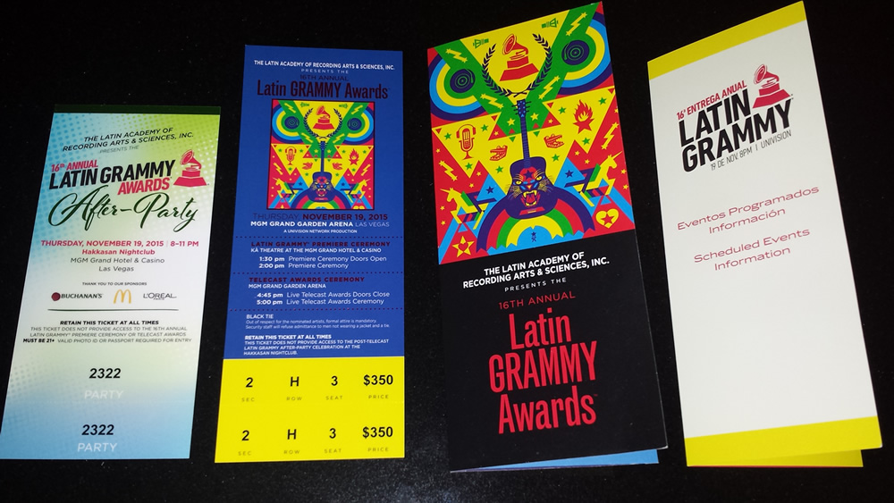 Latin Grammy® tickets, after-party and program materials