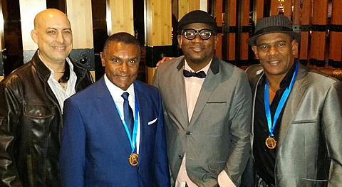 Latin Grammy® nomination medals presented to El Canario, Alden and Fernando (yours truly on the far left)