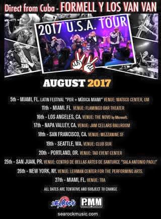 Los Van Van US Tour 2017