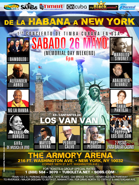"TIMBA MEGA CONCERT ""De la Habana a New York"" Memorial Day Saturday May 26 - Cuban Music News - Noticias de música cubana"