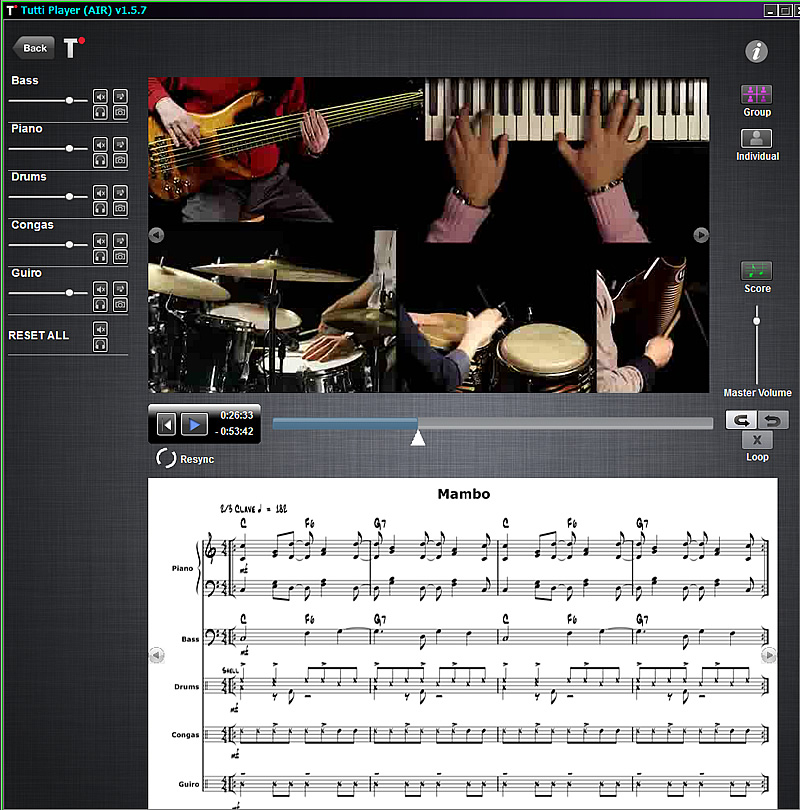 Tutti Music Player – play with masters – changing the way students around the world practice and play music. An interactive video music player for education and learning.